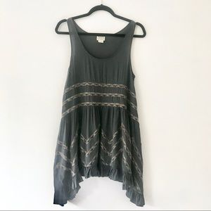 Free People Lace & Voile Gray Slip